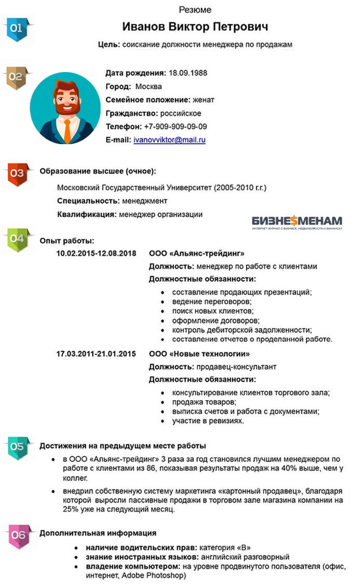 Указание дополнительной информации при составлении резюме для устройства на работу