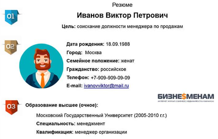 Указание образования работника в резюме для устройства на работу
