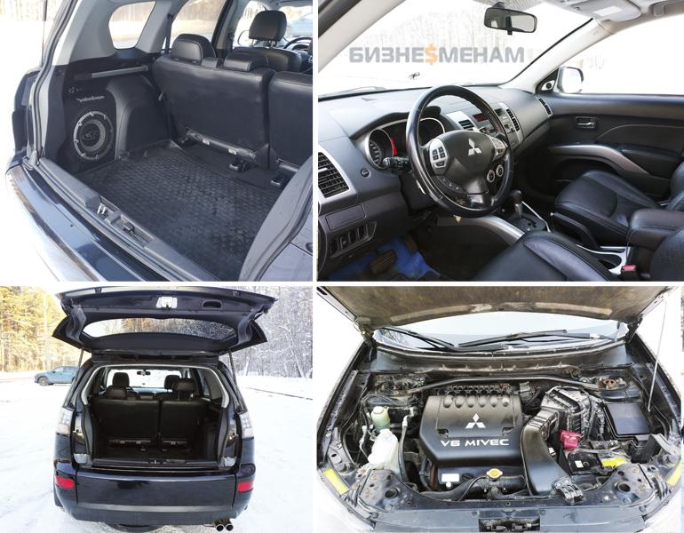 Фотографии салона и багажника с сабвуфером Mitsubishi Outlander XL 3.0
