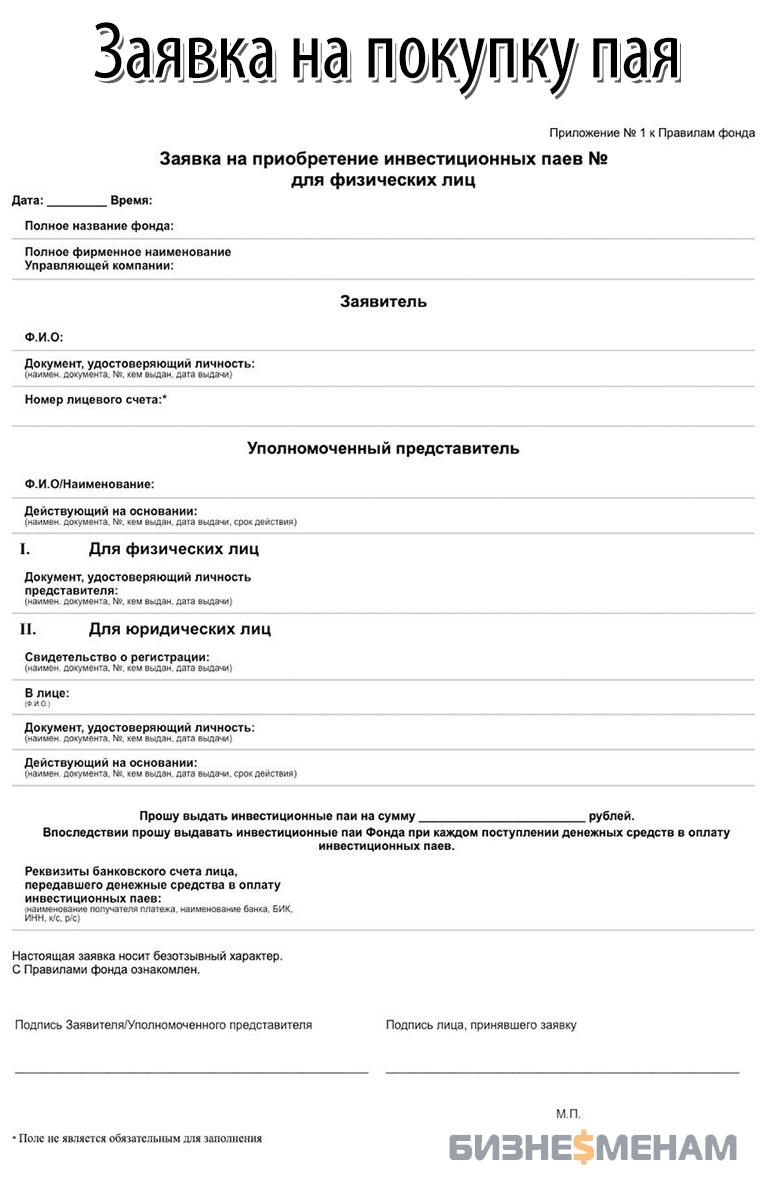 Заявки на приобретение инвестиционных паев (для физических лиц)