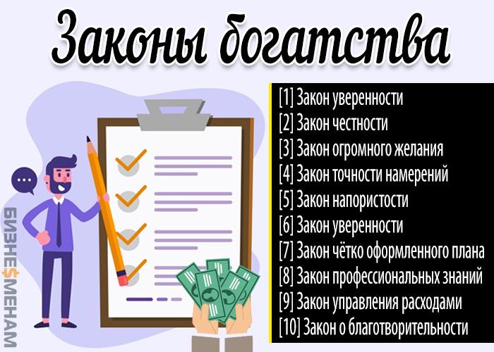 Как стать богатым и успешным - законы богатства